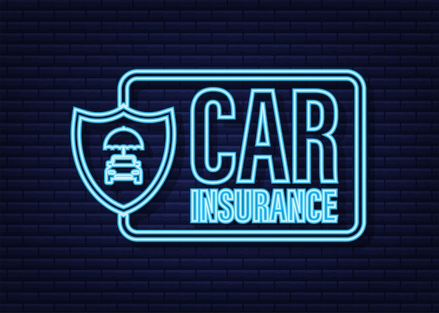 Insurance contract document. shield icon. protection. neon icon. vector stock illustration.