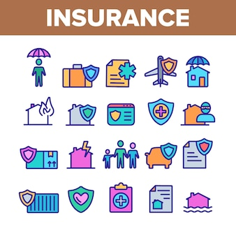 Insurance elements icons set