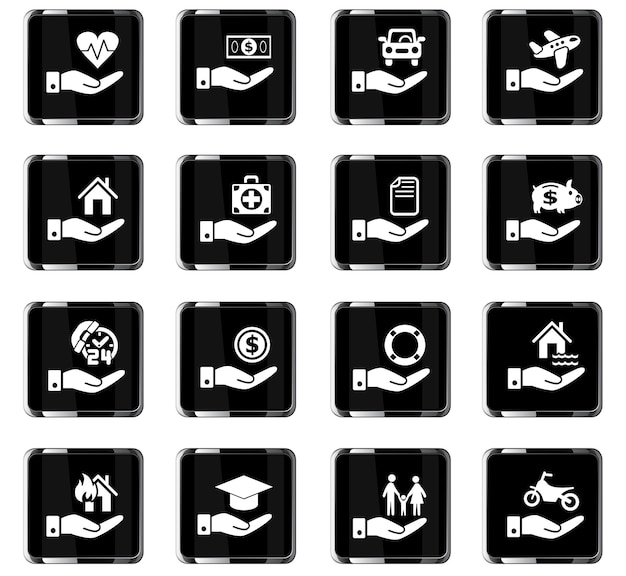 Insurance hand web icons for user interface design