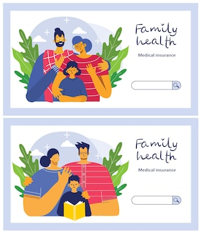 Insurance horizontal banner set with property and family health protection symbols