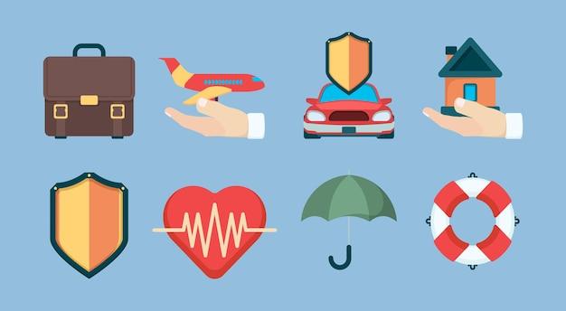 보험 아이콘입니다. 속성 정책 보험 개체 비즈니스 생활 건강 벡터 기호 컬렉션입니다. 보험 생명 및 집, 보안 여행 및 생명 보호 그림