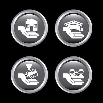 Insurance icons over black