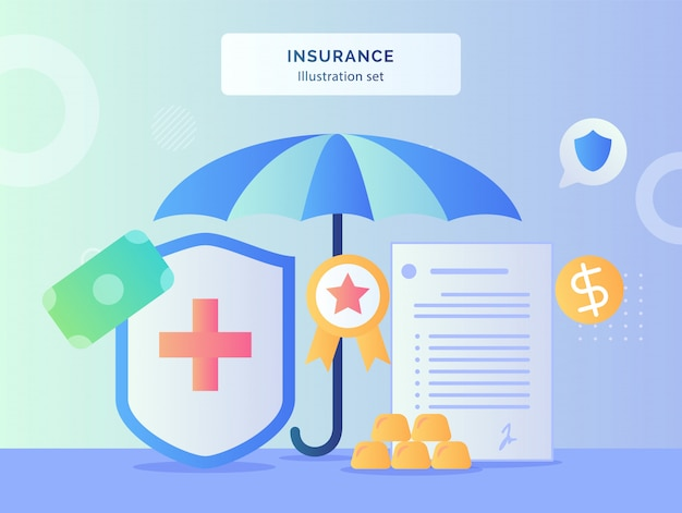 Insurance illustration set umbrella around red cross shield certified ribbon contract letter policy money with flat style