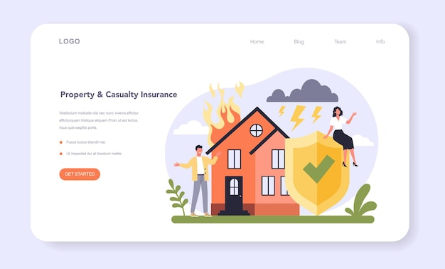 Insurance industry sector of the economy web banner or landing page. protection of life and property from damage service. health and casualty risk cover. flat vector illustration
