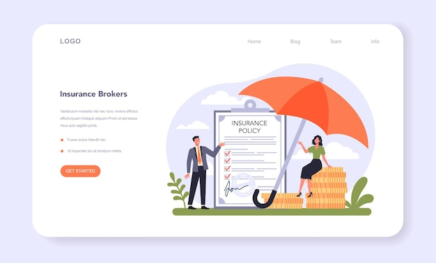 Insurance industry sector of the economy web banner or landing page.