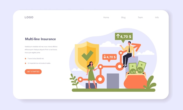 Insurance industry sector of the economy web banner or landing page