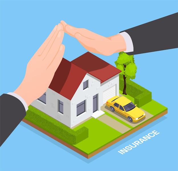 Composizione isometrica assicurativa con casa privata con le mani degli agenti che proteggono la proprietà con testo modificabile