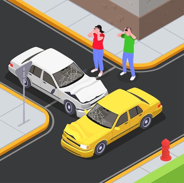 道路交差点の屋外風景とショックを受けたドライバーのキャラクターと車の衝突と保険の等尺性構成
