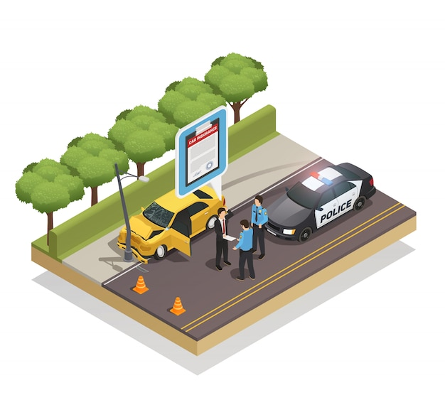 Insurance isometric composition