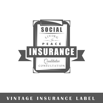 Insurance label isolated on white background