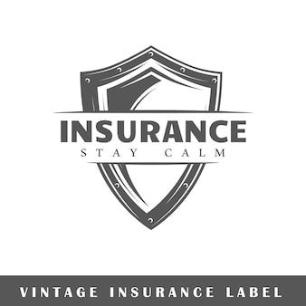 白い背景の上の保険のラベル。素子。ロゴ、看板、ブランディングのテンプレートです。図
