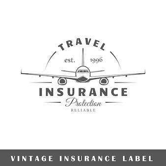 白い背景の上の保険ラベル。素子。ロゴ、看板、ブランディングのテンプレート。図