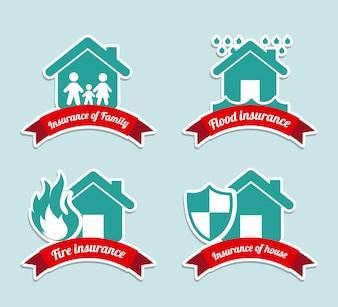 Insurance labels over blue background vector illustration