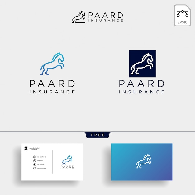 Insurance logo template collection and business card