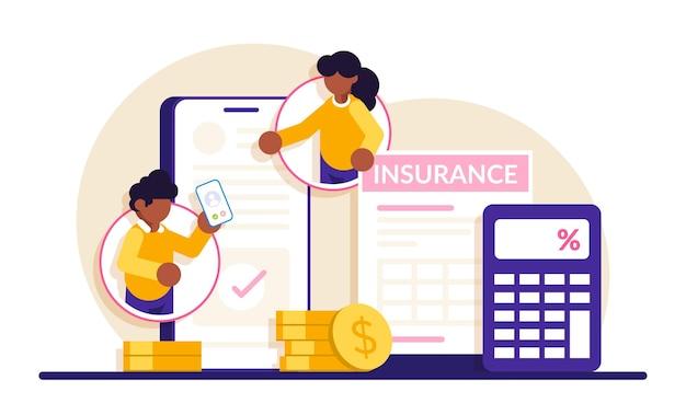 Страховая мобильная консультация. люди общаются по мобильному телефону, обсуждают договор страхования.