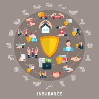 Страхование бизнеса, здоровья, путешествий, имущества и транспорта, круглая композиция на серо-коричневом фоне