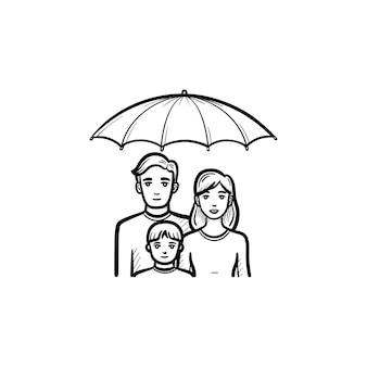 家族の保険手描きアウトライン落書きアイコン