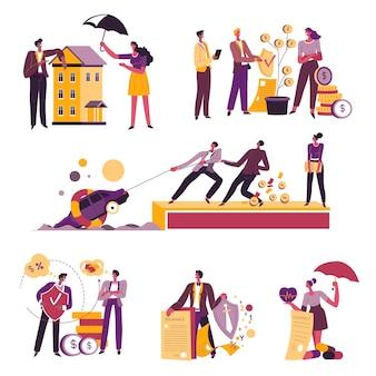 부동산, 재산 및 금융에 대한 보험, 계약 및 계약의 이점을 보여주는 클라이언트와 에이전트. 비즈니스 성공을 위한 의료 및 전략, 컨설턴트 벡터