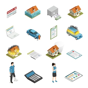 Insurance policy isometric elements set