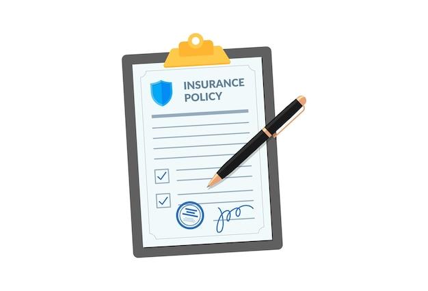 白い背景の会社契約契約に分離されたペンでクリップボードの保険証券