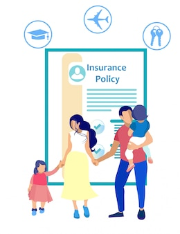 Insurance policy and people on white background.