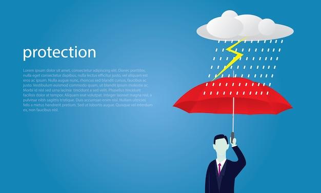 保険の保護の概念。ビジネスマンと傘。ベクター