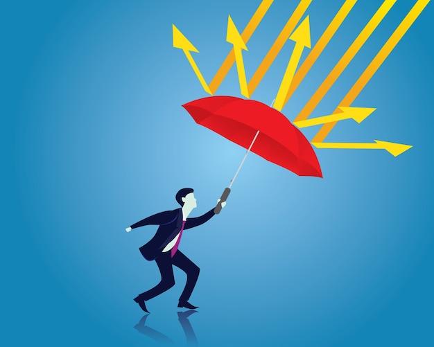 保険の保護の概念。ビジネスマンと傘