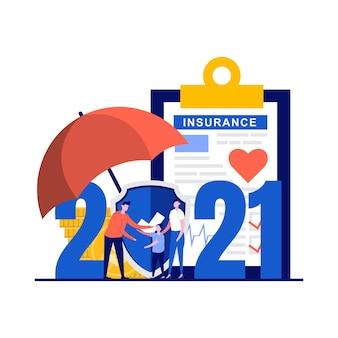 性格のある新年のコンセプトの保険決議。家族健康保険プラン。