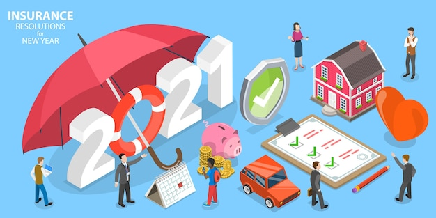 Insurance resolutions for new year, family health insurance plans.  isometric flat  conceptual illustration.