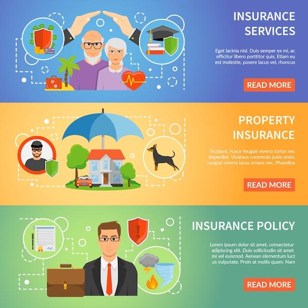 Insurance service 3 flat banners set