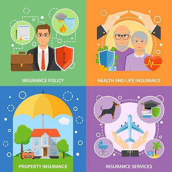 Insurance services 4 flat icons square