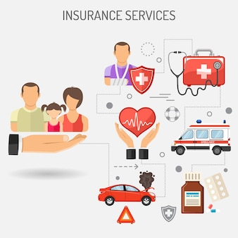 Insurance services banners for poster, web site, advertising like car, medical and family insurance. flat icons. isolated vector illustration