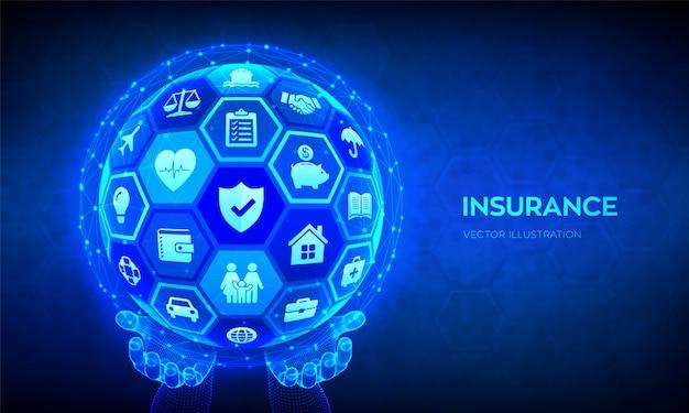 保険サービスのコンセプトです。抽象的な球またはグローブを手に。