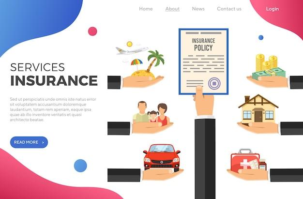 Концепция страховых услуг с плоскими иконами автомобилей, медицины, путешествий, семьи и страхового полиса в руке. шаблон целевой страницы. отдельные векторные иллюстрации