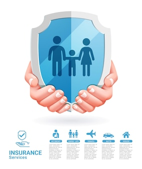 Insurance services conceptual two hands with shield illustrations.