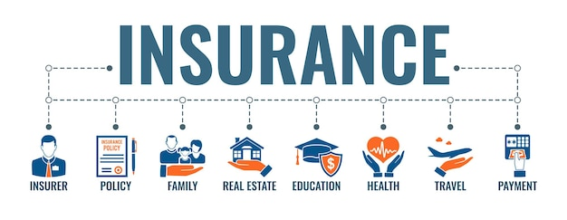 Insurance services horizontal banner with two color flat icons family, medical, travel and education insurance. typography concept. isolated vector illustration
