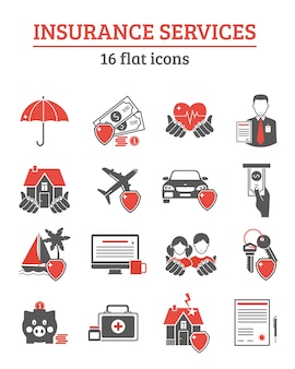 Insurance services icons set