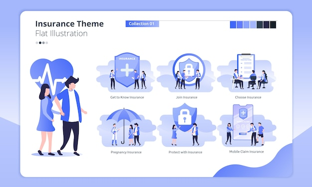 Insurance theme in a flat illustration