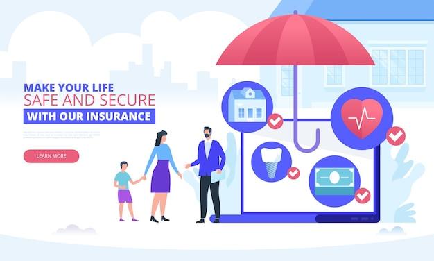 アイコンと保険ベクトルの概念。エージェントのいる家族。シールドと保険証券