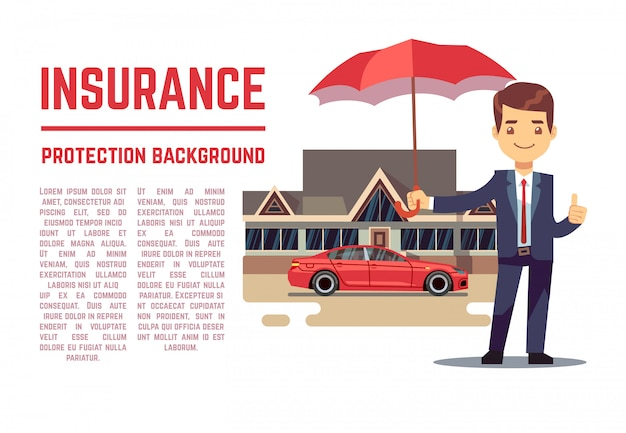 Insurance vector concept with insurance agent showing document, policy