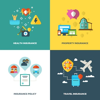 Insurance vector flat background concepts