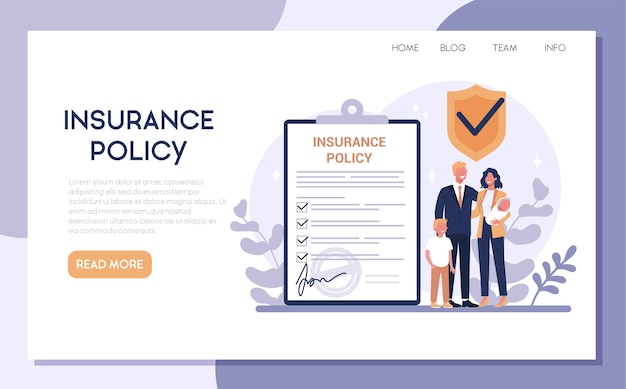 Insurance web banner. idea of security and protection of property and life from damage. family safety.