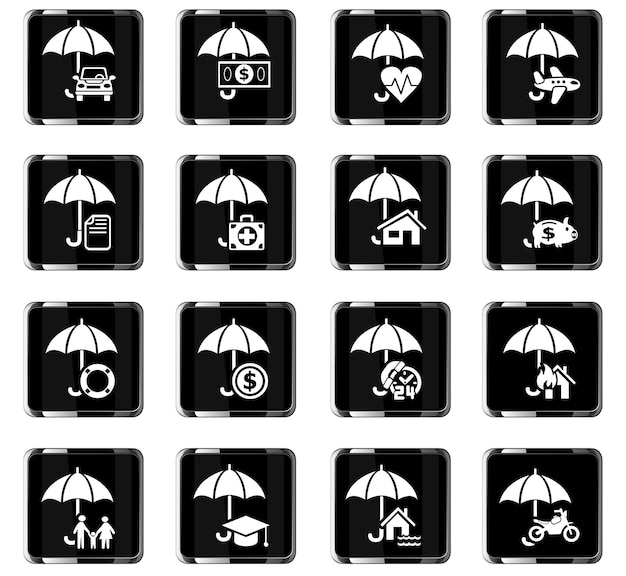 Insurance web icons for user interface design