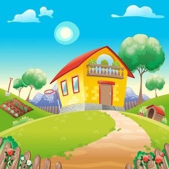 Дом с садом int сельскую местность, векторные иллюстрации мультфильм