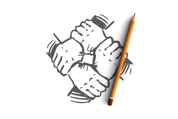 통합, 손, 팀워크, 함께, 그룹 개념. 손으로 그린 인간의 손에 함께 개념 스케치를 보유하고있다.