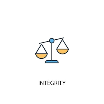 Integrity concept 2 colored line icon. simple yellow and blue element illustration. integrity concept outline symbol design
