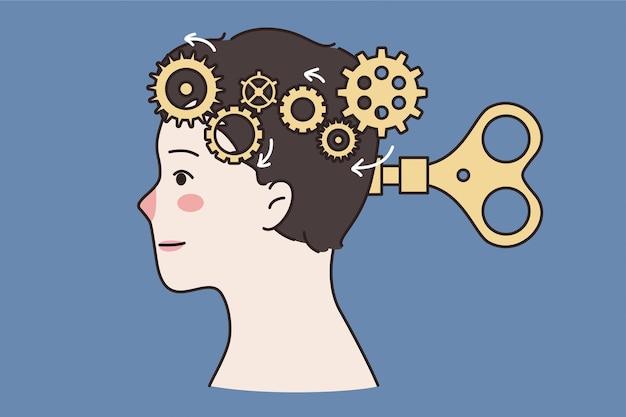 지적 조작과 정신 건강 개념. 두뇌가 있는 인간의 머리는 키와 가위 벡터 일러스트레이션으로 구동되는 기어 시스템으로 대체됩니다.