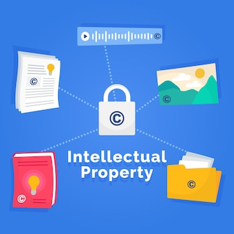 Intellectual property concept with lock