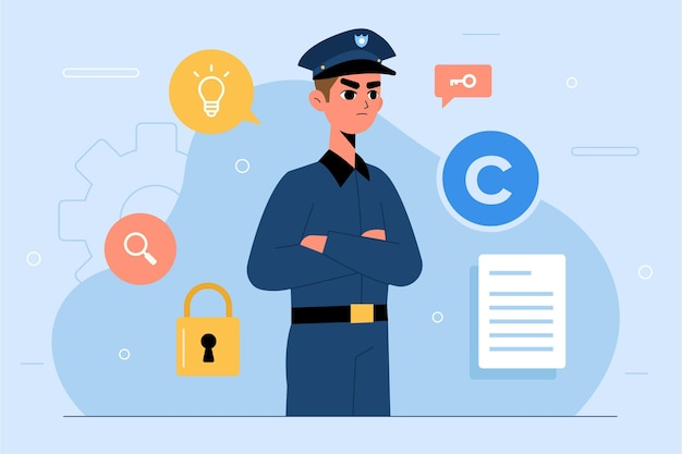 Intellectual property concept with policeman