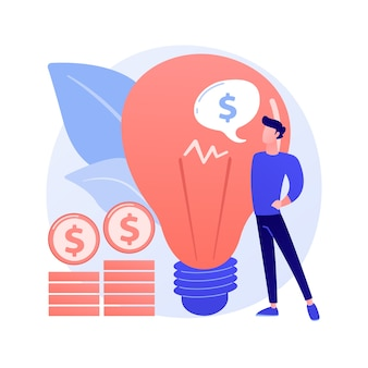 知的財産。創造的なアイデアの収益化、著者の権利保護、発明特許登録。収益性の高いスタートアップ、ライセンス料の支払いの概念図